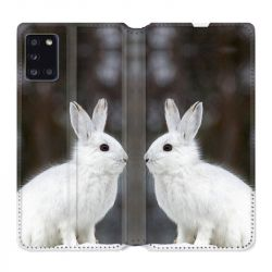 Housse cuir portefeuille pour Samsung Galaxy A31 Lapin Blanc