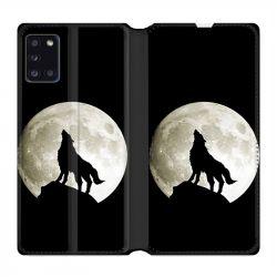 Housse cuir portefeuille pour Samsung Galaxy A31 Loup Noir
