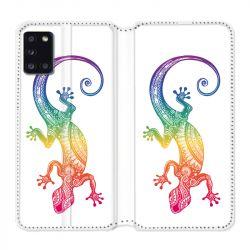 Housse cuir portefeuille pour Samsung Galaxy A31 Animaux Maori Salamandre Color