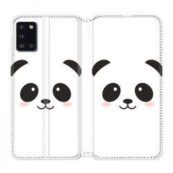 Housse cuir portefeuille pour Samsung Galaxy A31 Panda Blanc