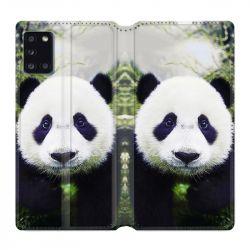 Housse cuir portefeuille pour Samsung Galaxy A31 Panda Color