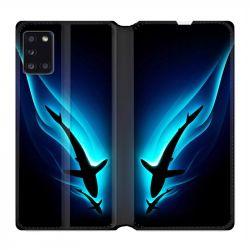 Housse cuir portefeuille pour Samsung Galaxy A31 Requin Noir