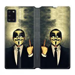 Housse cuir portefeuille pour Samsung Galaxy A31 Anonymous Doigt