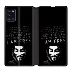 Housse cuir portefeuille pour Samsung Galaxy A31 Anonymous I am free