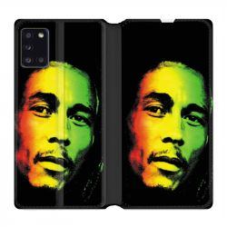 Housse cuir portefeuille pour Samsung Galaxy A31 Bob Marley 2