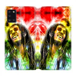 Housse cuir portefeuille pour Samsung Galaxy A31 Bob Marley Color