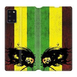 Housse cuir portefeuille pour Samsung Galaxy A31 Bob Marley Drapeau