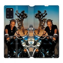 Housse cuir portefeuille pour Samsung Galaxy A31 Johnny Hallyday Moto