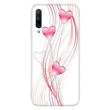 Coque pour Huawei Honor 9X Coeur Rose Montant sur Blanc