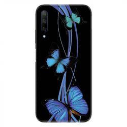 Coque pour Huawei Honor 9X Papillon bleu sur Noir
