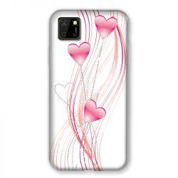 Coque pour Huawei Y5P Coeur Rose Montant sur Blanc