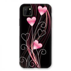 Coque pour Huawei Y5P Coeur Rose Montant sur Noir