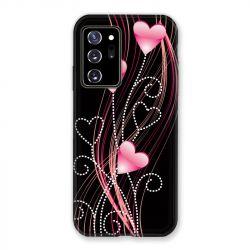 Coque pour Samsung Galaxy Note 20 Ultra Coeur Rose Montant sur Noir