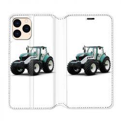 housse Cuir Portefeuille Pour Iphone 12 Mini Agriculture Tracteur Blanc