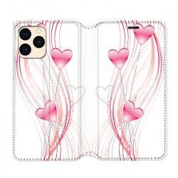 housse Cuir Portefeuille Pour Iphone 12 Mini Coeur Rose Montant sur Blanc