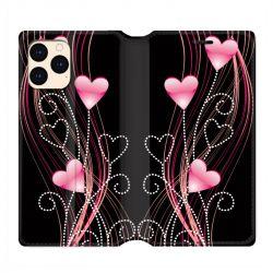 housse Cuir Portefeuille Pour Iphone 12 Mini Coeur Rose Montant sur Noir