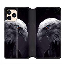 housse Cuir Portefeuille Pour Iphone 12 Mini Aigle Royal Noir