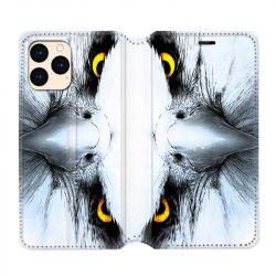 housse Cuir Portefeuille Pour Iphone 12 Mini Aigle Royal Blanc