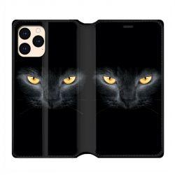 housse Cuir Portefeuille Pour Iphone 12 Mini Chat Noir