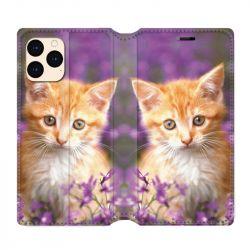 housse Cuir Portefeuille Pour Iphone 12 Mini Chat Violet