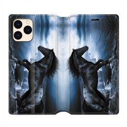 housse Cuir Portefeuille Pour Iphone 12 Mini Cheval Noir
