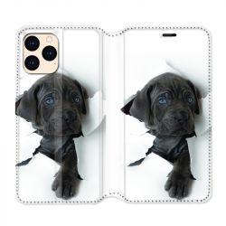 housse Cuir Portefeuille Pour Iphone 12 Mini Chien Noir