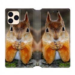 housse Cuir Portefeuille Pour Iphone 12 Mini Ecureuil Face