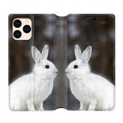 housse Cuir Portefeuille Pour Iphone 12 Mini Lapin Blanc