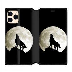 housse Cuir Portefeuille Pour Iphone 12 Mini Loup Noir