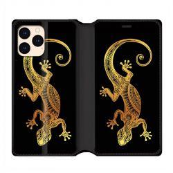 housse Cuir Portefeuille Pour Iphone 12 Mini Animaux Maori Lezard Noir
