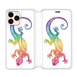 housse Cuir Portefeuille Pour Iphone 12 Mini Animaux Maori Salamandre Color