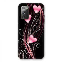 Coque pour Samsung Galaxy Note 20 Coeur Rose Montant sur Noir