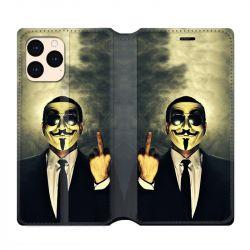 housse Cuir Portefeuille Pour Iphone 12 Mini Anonymous Doigt