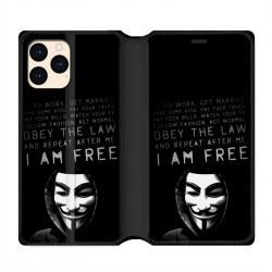 housse Cuir Portefeuille Pour Iphone 12 Mini Anonymous I am free