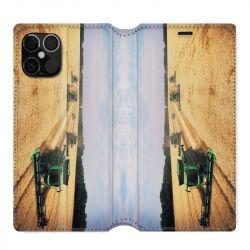 Housse cuir portefeuille pour Iphone 12 Pro Max Agriculture Moissonneuse