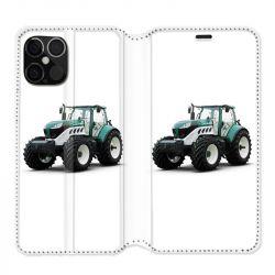 Housse cuir portefeuille pour Iphone 12 Pro Max Agriculture Tracteur Blanc