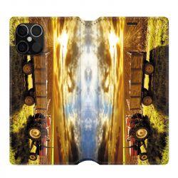 Housse cuir portefeuille pour Iphone 12 Pro Max Agriculture Tracteur Color