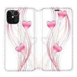 Housse cuir portefeuille pour Iphone 12 Pro Max Coeur Rose Montant sur Blanc