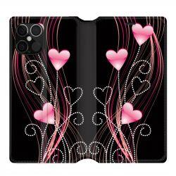 Housse cuir portefeuille pour Iphone 12 Pro Max Coeur Rose Montant sur Noir