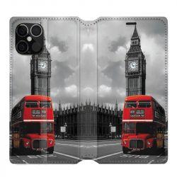 Housse cuir portefeuille pour Iphone 12 Pro Max Angleterre London Bus