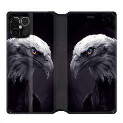 Housse cuir portefeuille pour Iphone 12 Pro Max Aigle Royal Noir