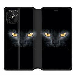 Housse cuir portefeuille pour Iphone 12 Pro Max Chat Noir