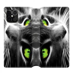 Housse cuir portefeuille pour Iphone 12 Pro Max Chat Vert