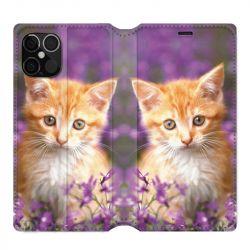 Housse cuir portefeuille pour Iphone 12 Pro Max Chat Violet