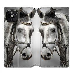 Housse cuir portefeuille pour Iphone 12 Pro Max Cheval Blanc