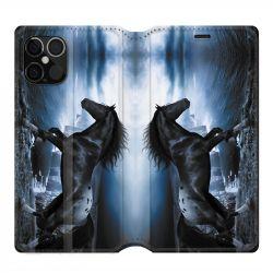 Housse cuir portefeuille pour Iphone 12 Pro Max Cheval Noir