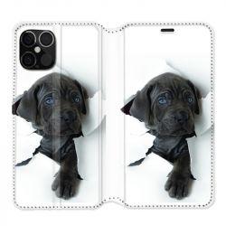 Housse cuir portefeuille pour Iphone 12 Pro Max Chien Noir