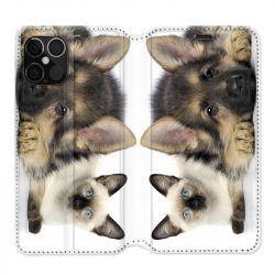 Housse cuir portefeuille pour Iphone 12 Pro Max Chien vs Chat