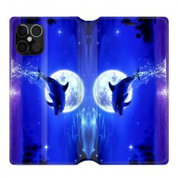 Housse cuir portefeuille pour Iphone 12 Pro Max Dauphin Lune