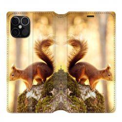 Housse cuir portefeuille pour Iphone 12 Pro Max Ecureuil Bois